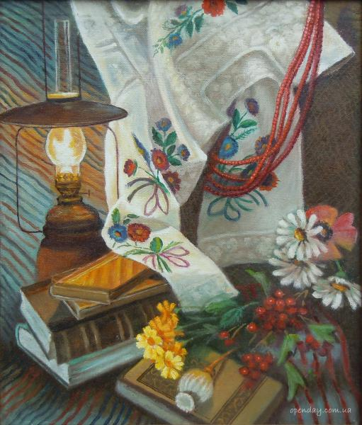 Still life with lamp