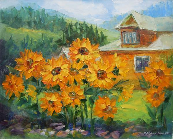 Sunflowers near the house