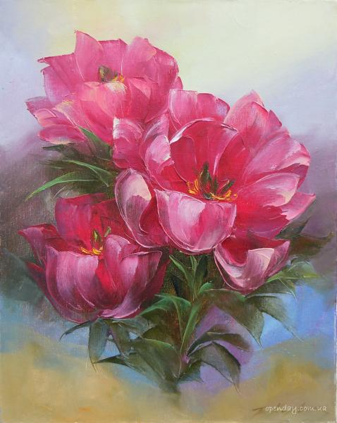 Portrait of pink peonies